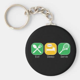 Eat Sleep Tennis Basic Round Button Keychain