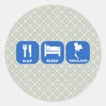 Eat Sleep Thailand Round Sticker