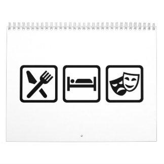 Eat sleep theater masks calendar