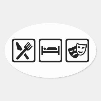 Eat sleep theater masks oval sticker