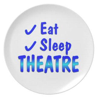 Eat Sleep Theatre Melamine Plate