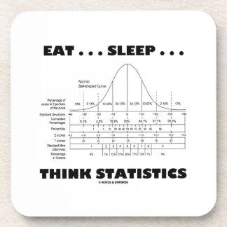 Eat ... Sleep ... Think Statistics (Bell Curve) Beverage Coaster