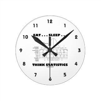 Eat ... Sleep ... Think Statistics (Bell Curve) Round Wallclocks