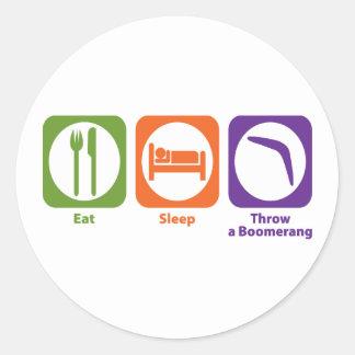 Eat Sleep Throw a Boomerang Classic Round Sticker