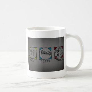 eat,sleep,toys coffee cup classic white coffee mug