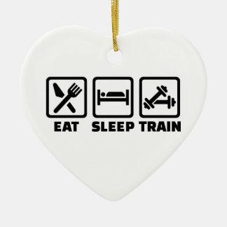 Eat Sleep Train Bodybuilding Double-Sided Heart Ceramic Christmas Ornament