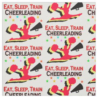 EAT, SLEEP TRAIN CHEERLEADING RED DESIGN FABRIC