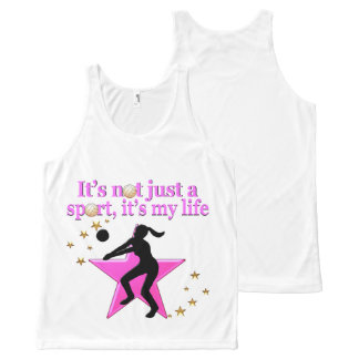 EAT, SLEEP, TRAIN, PINK VOLLEYBALL STAR DESIGN All-Over-Print TANK TOP