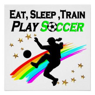 EAT, SLEEP, TRAIN PLAY SOCCER POSTER