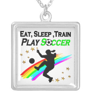 EAT, SLEEP, TRAIN PLAY SOCCER SILVER PLATED NECKLACE