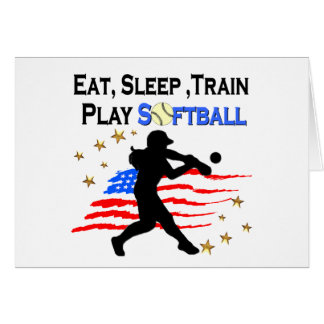 EAT, SLEEP, TRAIN PLAY SOFTBALL PATRIOTIC DESIGN CARD