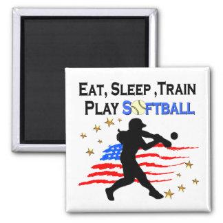 EAT, SLEEP, TRAIN PLAY SOFTBALL PATRIOTIC DESIGN MAGNET