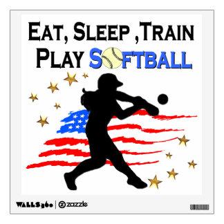 EAT, SLEEP, TRAIN PLAY SOFTBALL PATRIOTIC DESIGN WALL STICKER