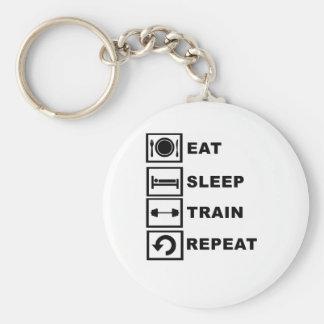 Eat, sleep, train, repeat. basic round button keychain