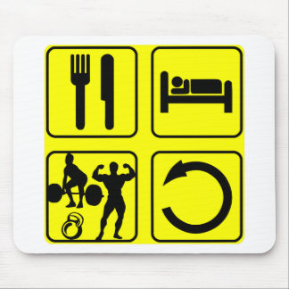 Eat Sleep Train Repeat Body Building Weight Lift Mouse Pad