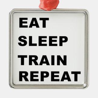 Eat, sleep, train, repeat. metal ornament