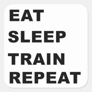 Eat, sleep, train, repeat. square sticker
