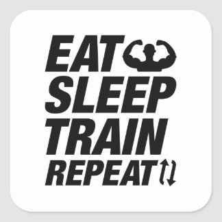 Eat Sleep Train Repeat Square Sticker