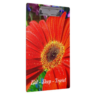 Eat Sleep Travel red floral clipboard