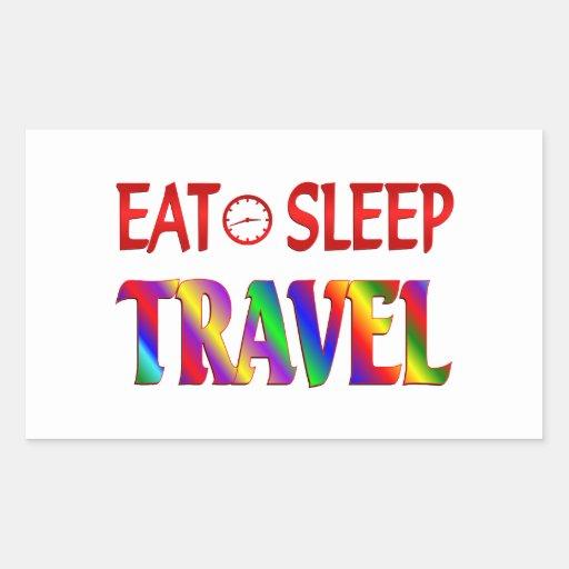 Eat Sleep Travel Rectangle Stickers