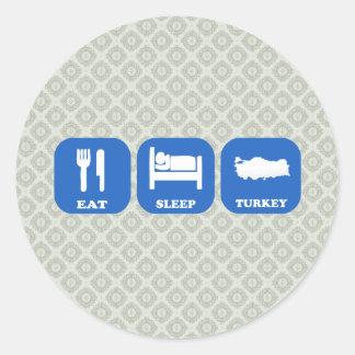 Eat Sleep Turkey Classic Round Sticker