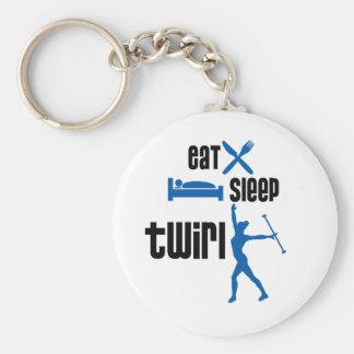 Eat Sleep Twirl Blue Keychain