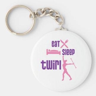 Eat Sleep Twirl Keychain