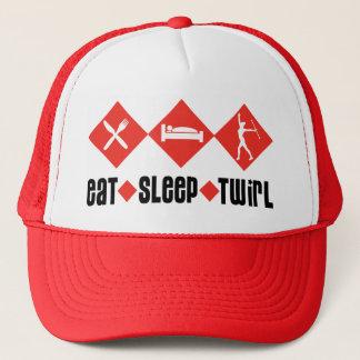 Eat Sleep Twirl Red Trucker Hat