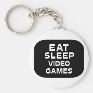 Eat Sleep Video Games Basic Round Button Keychain
