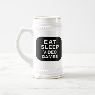 Eat Sleep Video Games Beer Stein