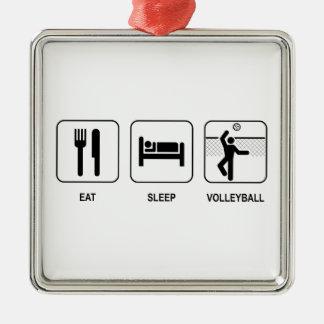 Eat Sleep Volleyball Metal Ornament