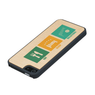 Eat Sleep Volleyball Carved® Maple iPhone 5 Case