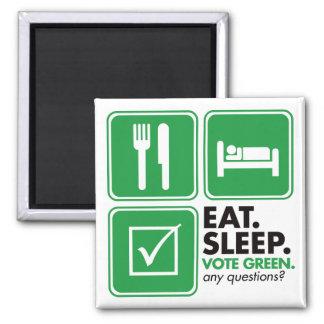 Eat Sleep Vote Green Refrigerator Magnets
