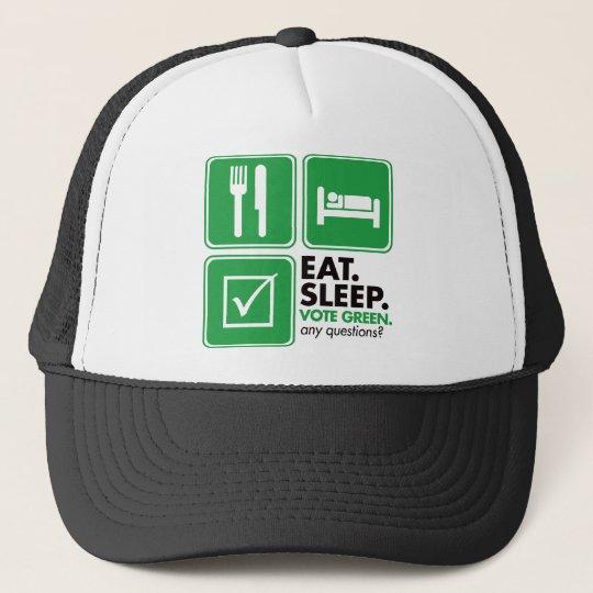 Eat Sleep Vote Green Trucker Hat