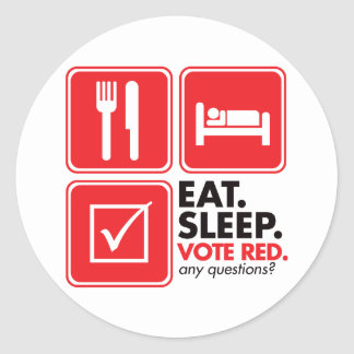 Eat Sleep Vote Red Sticker