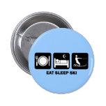 eat sleep water ski 2 inch round button