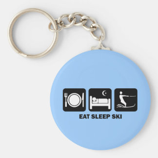 eat sleep water ski keychain