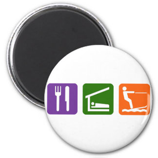 Eat Sleep Water Skiing 2 Inch Round Magnet
