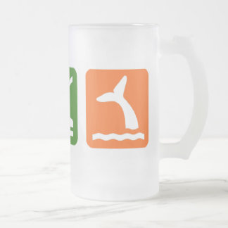 Eat Sleep Whale Watching Frosted Glass Beer Mug