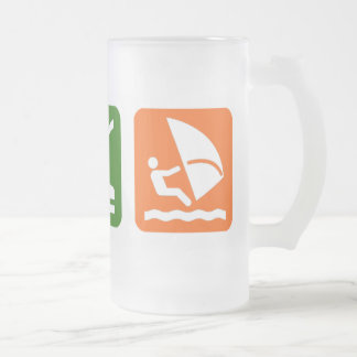 Eat Sleep Windsurfing Frosted Glass Beer Mug