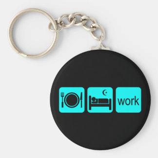 Eat sleep work basic round button keychain