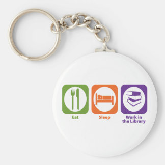 Eat Sleep Work in the Library Keychain