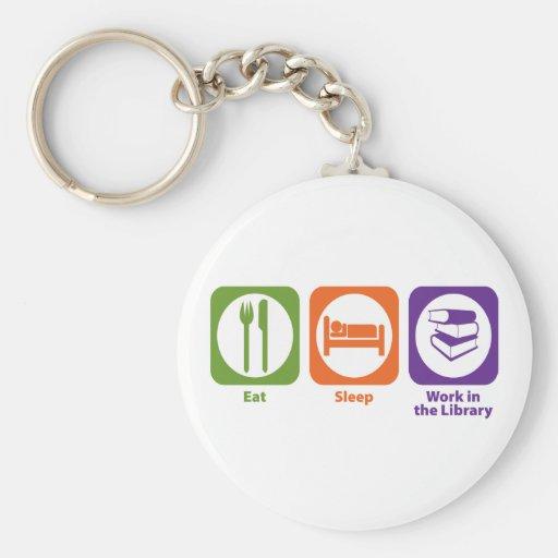 Eat Sleep Work in the Library Basic Round Button Keychain