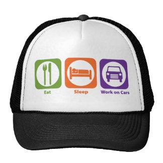 Eat Sleep Work on Cars Trucker Hats