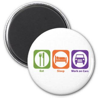 Eat Sleep Work on Cars 2 Inch Round Magnet