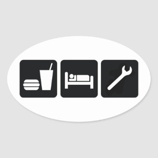 Eat Sleep Wrench Oval Sticker