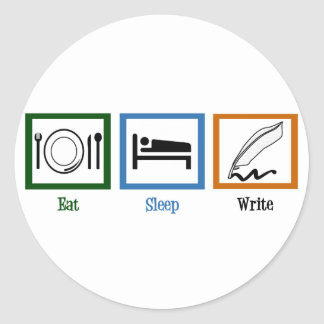 Eat Sleep Write Classic Round Sticker