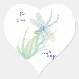Eat Sleep Yoga, Fun Saying Watercolor Dragonfly Heart Sticker