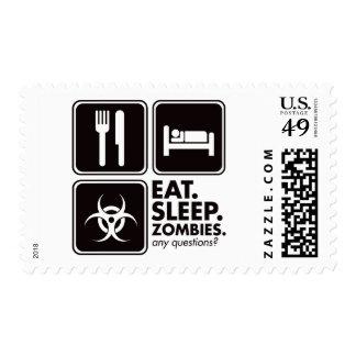 Eat Sleep Zombies - Black Postage Stamp