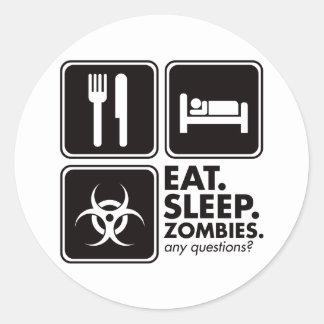 Eat Sleep Zombies - Black Classic Round Sticker